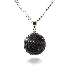 Fizzball Collection Crystal Ball Necklace Black - 4EverBling