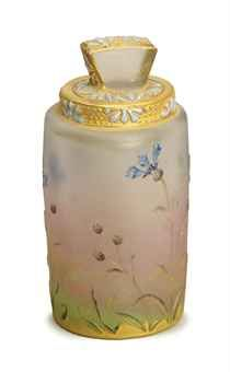 A FRENCH ETCHED GILT AND ENAMELED CAMEO GLASS SCENT BOTTLE AND STOPPER,