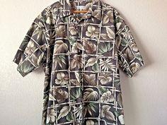 Pierre Cardin Men's Bamboo Leafs Brown Aloha Hawaiian Tiki Cotton XXL  #PierreCardin #Hawaiian