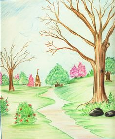 Color pencil drawings landscape colour sketch drawings simple scenery coloured sketch how to draw a Scenery Drawing Pencil, Scenery Drawing For Kids, Pencil Drawings Of Nature, Beautiful Pencil Drawings, Color Pencil Sketch, Colored Pencil Artwork, Nature Drawing, Art Drawings For Kids, Landscape Drawings