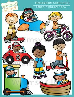 The transportation kids clip art set contains 16 image files, which includes 8 color images and 8 black & white images in png and jpg. All images are 300dpi for better scaling and printing.
