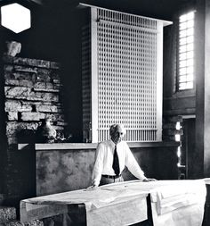 """Celebrating the 150th anniversary of luminary architect Frank Lloyd Wright. Photo by Pedro Guerrero the only photographer the legendary architect worked with. When a client once informed Wright that a window was leaking onto his desk Frank's advice was """"Move the desk."""" #architecturelovers #architecturephotography #architecture #franklloydwright montauksofa.com"""