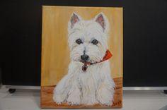 custom pet portrait painting Westie, West Highland White Terrier custom pet painting westie art westie decor pet sympathy pet person gift by MoonbeamsBearDreams on Etsy
