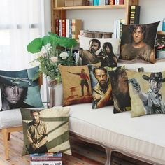 The Walking Dead Cotton Linen car pillow cover cushion cover sofa backrest Decoration (excluding interior core) //Price: $9.95 & FREE Shipping //     #carlgrimes