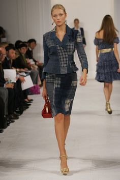 Pin for Later: 71 Iconic Runway Looks That Show the True Spirit of Ralph Lauren Spring 2006 The classic skirt suit silhouette gets a preppy update courtesy of a denim madras pattern.