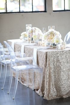 Sparkly linens. If it's too expensive to put these linens on every table at your reception, try every other table or every third table...or simply make a bold (and glittery) statement without breaking the bank by only using these linens on the head table, cake table and gift table.