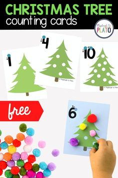 If you're looking for a fun way to teach kids number recognition, counting, one-to-one correspondence, number writing and even beginning addition this holiday season, you've come to the right spot. These festive Christmas tree counting cards are a motivating, hands-on way to tackle the numbers 1 to 10. Preschool Christmas Activities, Kids Learning Activities, Christmas Crafts For Kids, Preschool Crafts, All Things Christmas, Christmas Themes, Preschool Activities, Numbers For Kids, Theme Noel