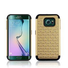 SAMSUNG GALAXY S6 EDGE G9250 GOLD STUDDED DIAMOND HARD PLASTIC PHONE CASE COVER. #