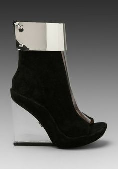 Jeffrey Campbell Roni MC in Black Suede/Clear Silver