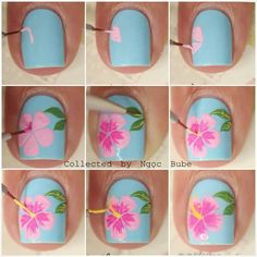 Step by step hibiscus Nail Design, Nail Art, Nail Salon, Irvine, Newport Beach http://hubz.info/90/wonderful-white-walls-interior-ideas