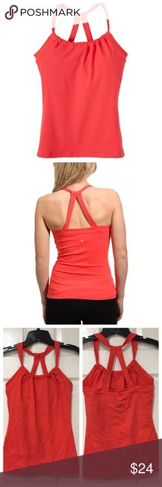 PrAna Quinn Chakara Top Worn once. Super comfortable and durable.  Quick dry stretch fabric Fitted with a scoop neck Internal shelf bra with removable cups Double strap racerback [solid]93% Supplex nylon, 7% Lycra, [heathers] 48% nylon, 45% polyester, 7% spandex, [lining] 92% spun polyester, 8% spandex, 94% nylon, 6% spandex Prana Tops Tank Tops