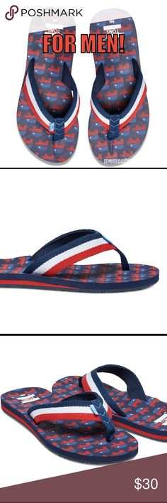 TOMS MEN's Republican Donkey Flip flops/sandals! Grab your husband, father, brother, grandpa, neighbor or favorite barista and bring em to the polls in these LIMITED EDITION TOMS Republican Flip flops. Sure to draw attention for their patriotic charm these comfy shoes have a study sole and chambray lining to make em last longer than voter lines at closing time. Their flip flops. They go with anything. He'll also be ready for fireworks and hot dogs next 4th of July! Regardless of party…