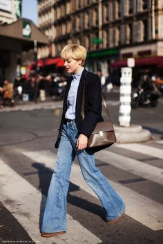 Le Fashion Blog 11 Ways To Wear Denim On Denim Inspiration Short Hair Blazer Tucked In Shirt Flared Jeans Via Stockholm Street Style photo Le-Fashion-Blog-11-Ways-To-Wear-Denim-On-Denim-Inspiration-Flared-Jeans-Via-Stockholm-Street-Style.jpg