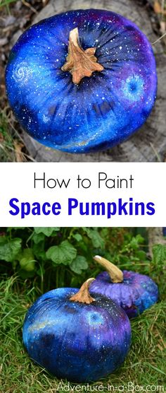 How to Paint a Space Pumpkin for Halloween If your kids aren't old enough to carve, make these no-carve painted space pumpkins for Halloween. Great craft for a sci-fi Halloween! Halloween Party Supplies, Halloween Crafts For Kids, Halloween Activities, Easy Halloween, Holidays Halloween, Halloween Pumpkins, Vintage Halloween, Kids Crafts, Halloween 2013