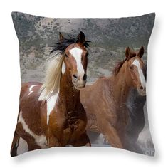 "Horses in Colorado 2 14"" x 14"" Throw Pillow by Deniece Platt.  Multiple sizes available."