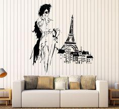 Wall Vinyl Decal Fashion France Franch Girl Eiffel Tower Home Interior Decor z4415