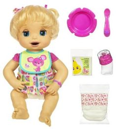 Baby Alive Caucasian Doll by Hasbro. $349.97. Feed her or give her a bottle, and then get ready to change her messy diaper. She really eats and tells you how she likes it with more than 20 fun electronic phrases. Doll comes with dress, 2 doll diapers, bottle with nipple and cap, bowl, spoon, 4 packets of doll food and bib. Spoon and bottle contain magnets. When this doll is ?hungry? you can mix up some of her special doll food. She?s ready to play, laugh and talk with ...