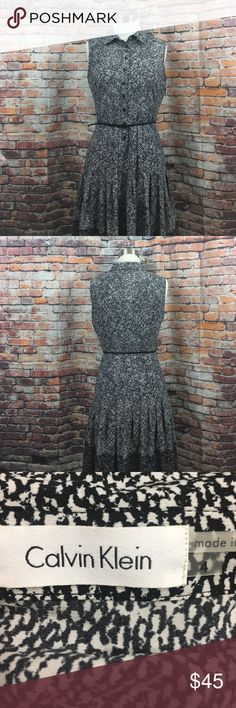 """Calvin Klein sleeveless dress Sleeveless collared Calvin Klein dress buttoned halfway done with a belt; made with 97% polyester and 3% spandex. Size 4, 38"""" in Che's in length Calvin Klein Dresses Midi"""