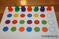 "15 Hands-On Math Activities for Preschoolers-Patterns with Bears and Sorting Bears: >M. 6.10-put things in order; i""ll have them put the bears in order by the color pattern. >M. 6.19-sort a group of objects by more than one way; I'll have them sort the bears by color and by different patterns."