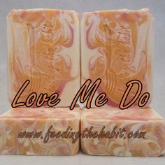 #Handcraftedsoap This fragrance has a warm fruity start with peach, strawberry and citrus, then it rounds the bend with herbs and lavender and ends with light musk note.   Yeah.  It's that sort of good.   Soap ingredients: olive oil, distilled water, coconut oil, lye, palm oil, shea butter, castor, fragrance oil, honey, mica colorant Love Me Do, Distilled Water, Palm Oil, Fragrance Oil, Shea Butter, Olive Oil, Coconut Oil, Icing, Lavender