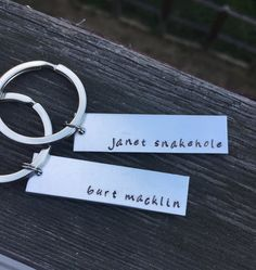Parks and Rec: April Ludgate and Andy Dwyer - Keychain - Hand Stamped on Aluminum Brass or Copper - janet snakehole and burt macklin by AshleysHandCrafts on Etsy https://www.etsy.com/listing/259023074/parks-and-rec-april-ludgate-and-andy