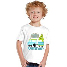 All Aboard I'm turning 4 Train Birthday Boy personalized shirt by shirtsbynany on Etsy