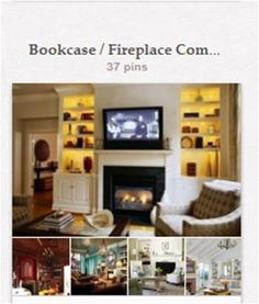 """Bookcase / Fireplace Combos: Trying to get ideas for a specific fireplace surround need... General bookshelves not with fireplaces are under """"Bookshelves & Home Libraries"""" [http://pinterest.com/suziholler/bookshelves-home-libraries/]."""