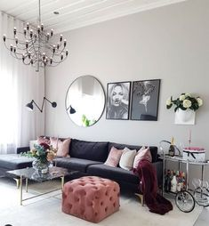 30 Incredibly Charming Pink Living Room Design Ideas - Home Bigger Elegant Living Room, Living Room Grey, Interior Design Living Room, Living Room Designs, Modern Living, Small Living, Blue And Pink Living Room, Living Room Decor Colors, Living Room Color Schemes