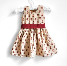 Baby Dress - Size 3 - 6 months - Cream floral with Maroon Belt - Baby Girl Dress on Etsy, £16.99