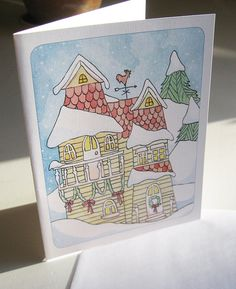 Winter Cottage in the Snow Card by LaurajeanLaurajean on Etsy, $5.00