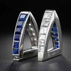 Art Deco Platinum Sapphire and Diamond Cufflinks - Everything - Shop for Jewelry