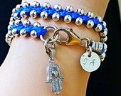 Blue and silver Hamsa Bracelet Free shipping Handcrafted double loop  with silver Hamsa embedded zircons