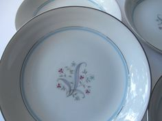 Vintage Yamaka Laura Pink Blue Floral Soup Bowls by thechinagirl