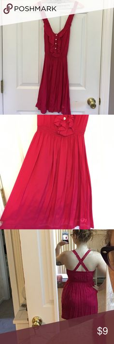 Gilly Hicks fuchsia sundress This Gilly Hicks sundress is in perfect used condition! It has only been worn once, aside from the photos above. It is a size XS, but I think it would fit a petite small as well. The dress has criss cross strap in the back which is so cute for summer. This dress is sheer as it is 100% viscose, super light for summer and breathable. It also has pockets! Gilly Hicks Dresses Midi