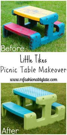 This Little Tikes Picnic Table Makeover went from Yuck to Great! Little Tikes and Upcycle Ideas on Frugal Coupon Living - Recycle your kids toys and turn them into something fun and new! Little Tikes Picnic Table, Kids Picnic Table, Kids Table Redo, Paint Kids Table, Little Tikes Playhouse, Plastic Playhouse, Playhouse Ideas, Little Tikes Makeover, Outdoor Projects