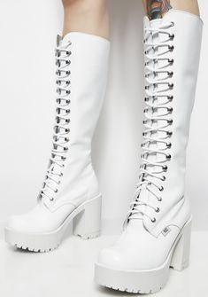 Goth Shoes, Shoes Heels, Thigh High Boots, High Heel Boots, Furry Boots, Kawaii Shoes, Edm Outfits, Fringe Boots, White Boots
