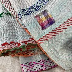 Bohemian Vintage Kantha Embroidered Throw -1 Kantha Quilt, Quilts, Romantic Picnics, Queen Size Bedding, Vintage Textiles, Vintage Bohemian, Vintage Cotton, Hand Stitching, Hand Embroidery