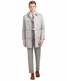 Grey Black Fleece by Brooks Brothers Trench with Tab Closures $895