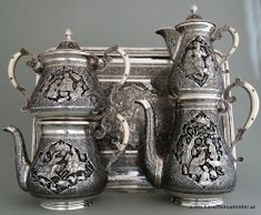 Remarkable 4 piece persian silver set plus tray by famous Ostad Lahiji