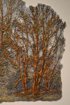 "Fiber Artist Journey: Trees as Fiber Art. Forest"" by Leslie Richmond Mixed fiber fabric, heat reactive base, metal patinas, acrylic paint, dyes Textile Fiber Art, Textile Artists, Fiber Art Quilts, Textiles, Tree Quilt, Landscape Quilts, Thread Painting, Driftwood Art, Felt Art"