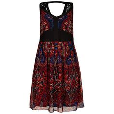 City Chic Paisley Rose Dress (570 ARS) ❤ liked on Polyvore featuring dresses, cutout dress, red dress, paisley day dress, rose dress et paisley dress