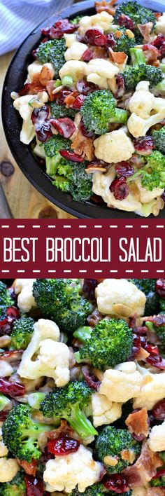 The BEST Broccoli Salad recipe - loaded with fresh broccoli cauliflower green onions bacon sunflower seeds dried cranberries and a lightened up honey mustard dressing. This salad is perfect for summer cookouts and picnics - a definite crowd pleaser! Best Broccoli Salad Recipe, Broccoli Cauliflower Salad, Fresh Broccoli, Broccoli Florets, Broccoli Salads, Healthy Brocolli Salad, Brocolli Salad With Bacon, Brocolli Recipes, Vegetarian