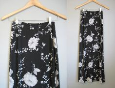 Floral Maxi Skirt Boho Bohemian Grunge by InTheHammockVintage, $20.00
