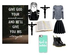 """God Will Give U His Strength rtd"" by lifeissweet170000 ❤ liked on Polyvore featuring Boohoo, Chicwish, Dr. Martens, Aspinal of London and Casetify"