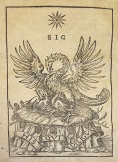 Large woodcut device of printer Franz Behem (a pelican in her piety with motto: Sic his qui diligunt [i.e. Thus to those who love]), signed with the HS monogram of an unidentified blockcutter active in Mainz in the first half of the 16th century.