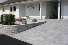 Exterior Design, Interior And Exterior, Outdoor Stone, Concrete Driveways, Raised Garden Beds, House Front, Curb Appeal, Home And Garden, Backyard