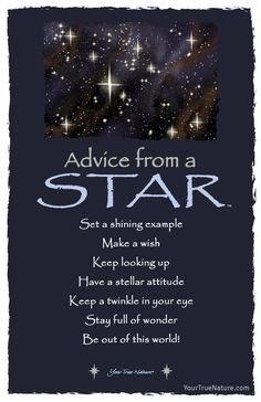 Each postcard says: Advice from a Star Set a shining example Make a wish Keep looking up Have a stellar attitude Keep a twinkle in your eye Stay full of wonder Positive Quotes, Motivational Quotes, Inspirational Quotes, Keep Looking Up, Was Ist Pinterest, Life Quotes Love, Make A Wish, Good Advice, Twinkle Twinkle