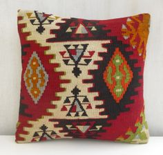 Kilim Pillow Cover Tribal Decorative Throw by PillowTalkOnEtsy, $48.00