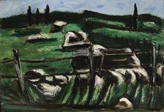 """Dogtown Common,"" Marsden Hartley, 1936, oil on academy board, 13 1/2 x 17 1/2"", Weisman Art Museum."