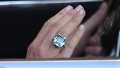 A close-up of the emerald-cut aquamarine ring which Meghan Markle wore yesterday and once belonged to Princess Diana